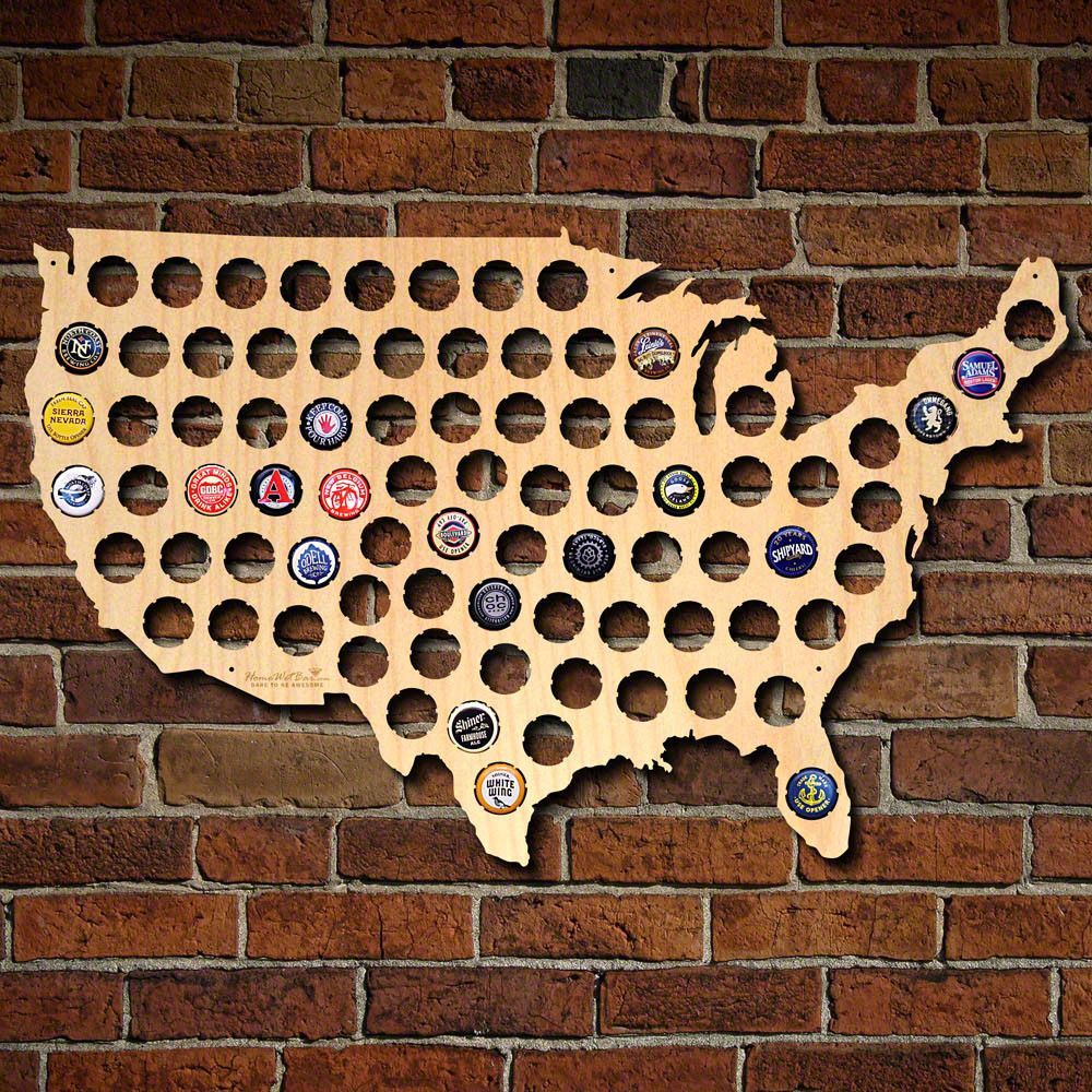 Home Wet Bar Beer Cap Map of United States Wall Décor