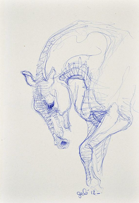 Sketch 182 OOAK Canter Horse Blue ballpoint pen by benedictegele, €15.00