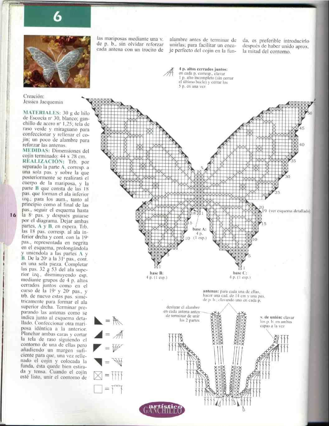 mariposa crochet esquema - Buscar con Google | Crochet Butterfly ...