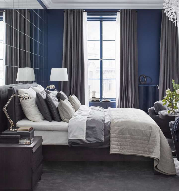 Blue and gray bedroom IKEA Blue and