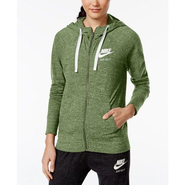 Nike Gym Vintage Full-Zip Hoodie ($50) ❤ liked on Polyvore featuring tops, hoodies, palm green, green top, lightweight hoodies, nike hoodie, full zipper hoodie and full zip hoodies