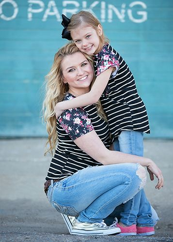 Mommy & Me floral and stripe tee for moms - matches our girls' shirt!