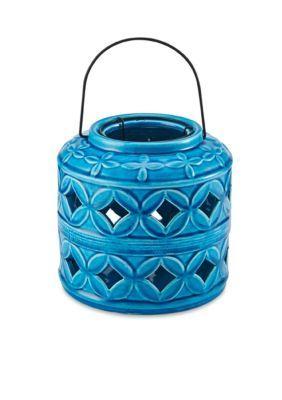 Elements Azure Blue 6.7-in. Barrel Ceramic Lantern