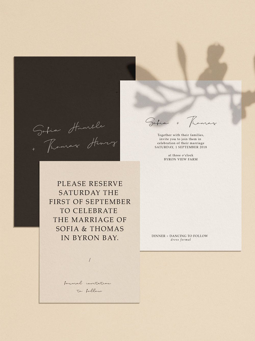 Modern Simple Minimal Wedding Invitations Stationery