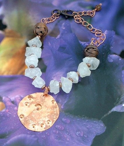 Chunky Crystal Quartz and Copper Pendant #290 by Gracefu lDesigns on ArtFire, $92