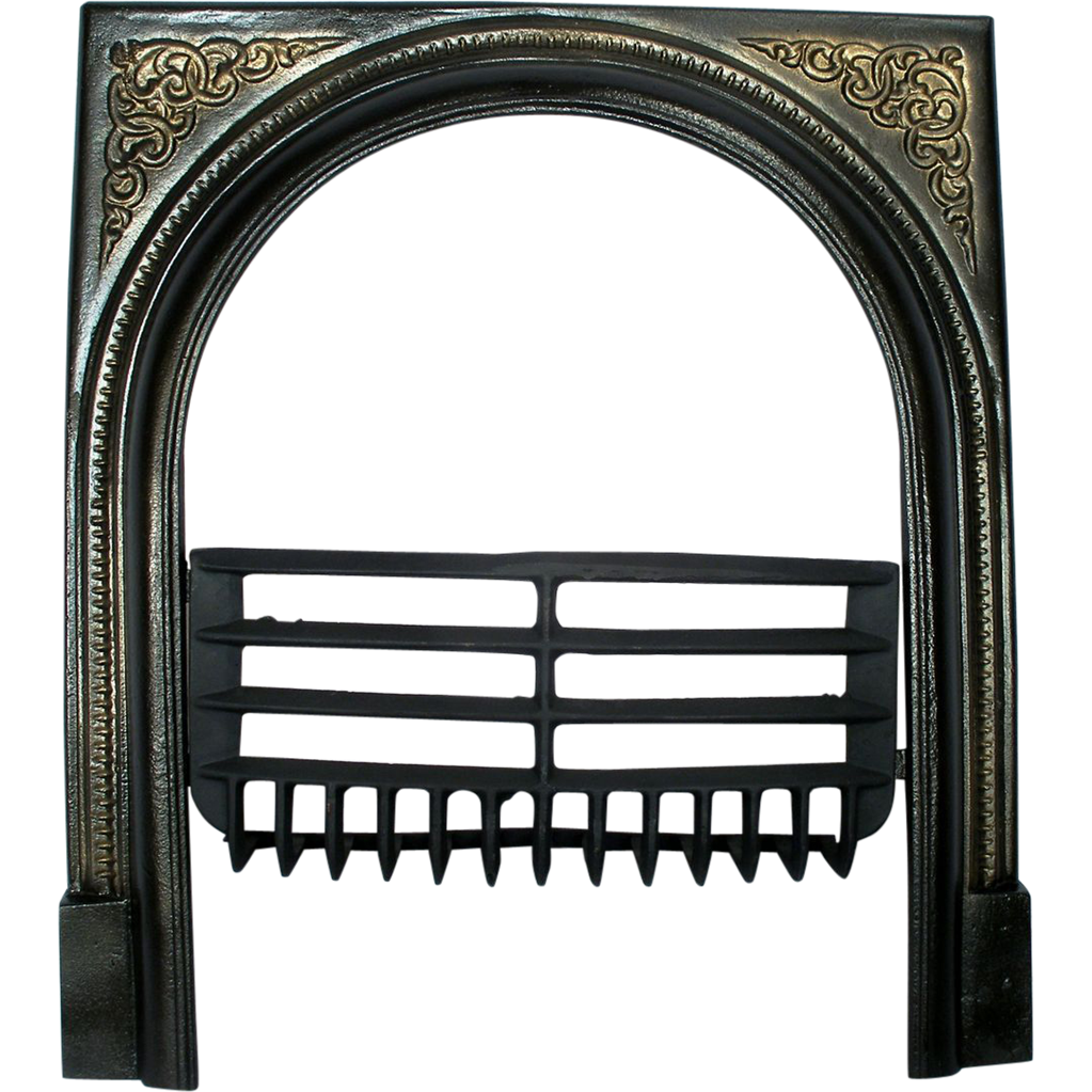 Vintage Art Deco Cast Iron Arched Door Frame Surround Screen & Fire ...