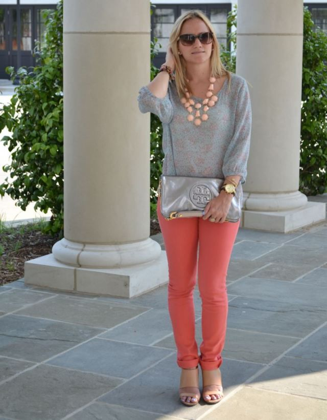 Coral Pants + H & M necklace - Coral Pants + H & M Necklace My Outfits Pinterest Coral