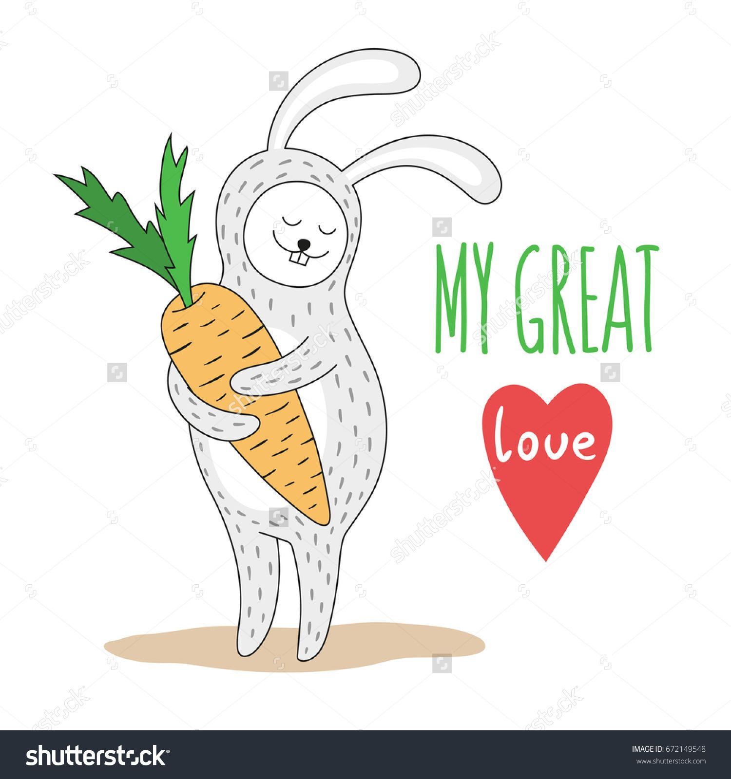 stock-vector-cute-rabbit-with-a-big-carrot-in-the-paws-hand-written ...