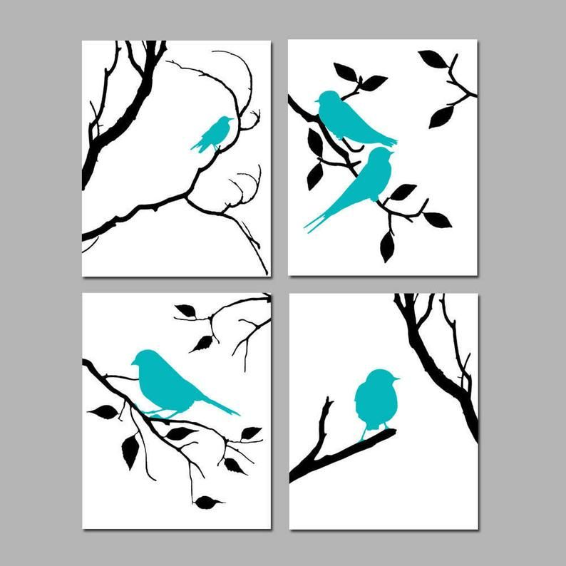 Bird Decor Bird Wall Art Bird Art Grey Bird Art Set Of 4 Bird Etsy Nature Wall Art Bird Art Bird Wall Art