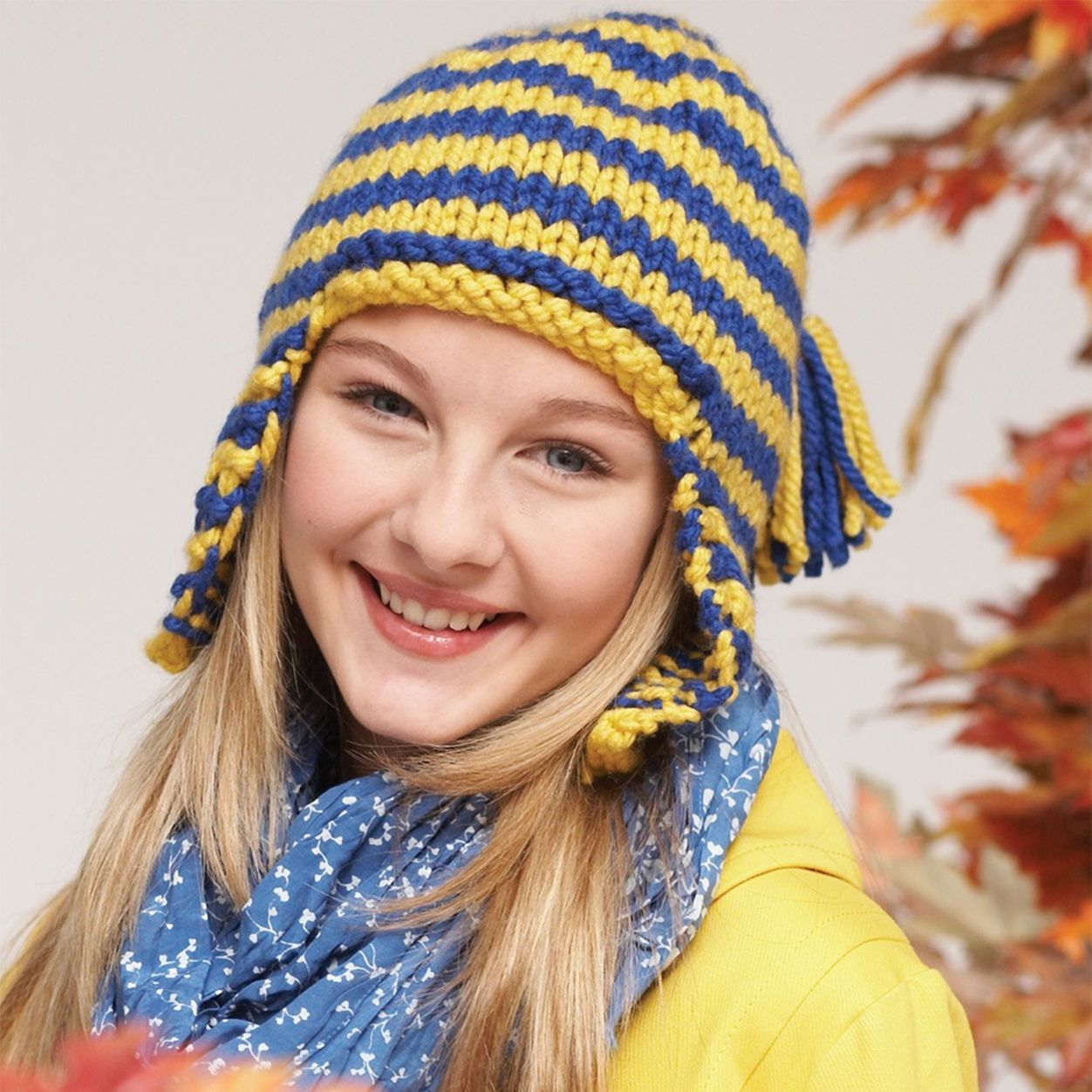 Bernat Earflap Cap, 6/8 yrs | Knit hat pattern easy ...
