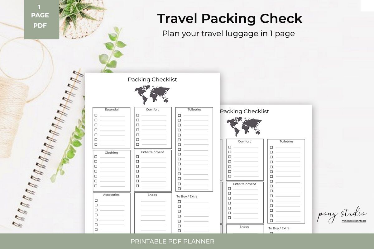 Travel Packing List Template A4 PDF Printable Packing