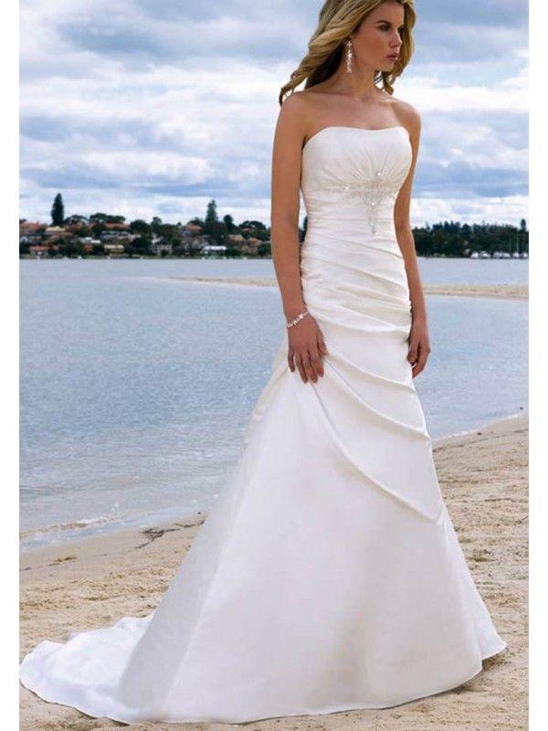 A-Line/Princess Sleeveless Satin Chapel Train Wedding Dresses ...