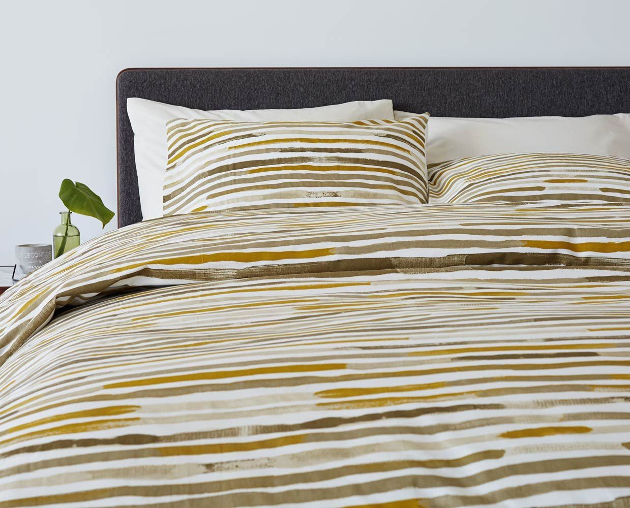 56953c40553f9 Kanon Bedding Set - Yellow by Dania Furniture. The Kanon duvet cover serves  as a blank canvas embellished with horizontal brushstrokes in muted  neutrals ...