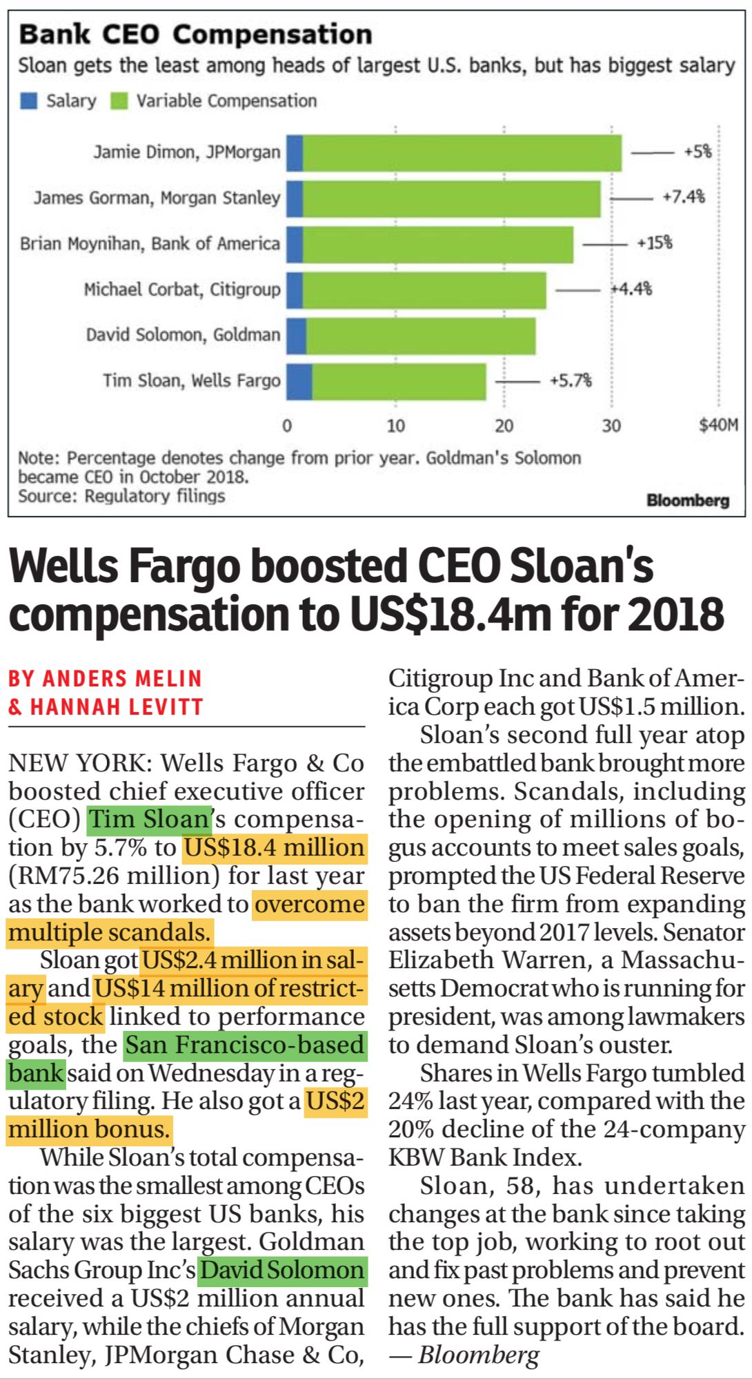 15 Mac 2019 Jamie Dimon James Gorman Bank Of America