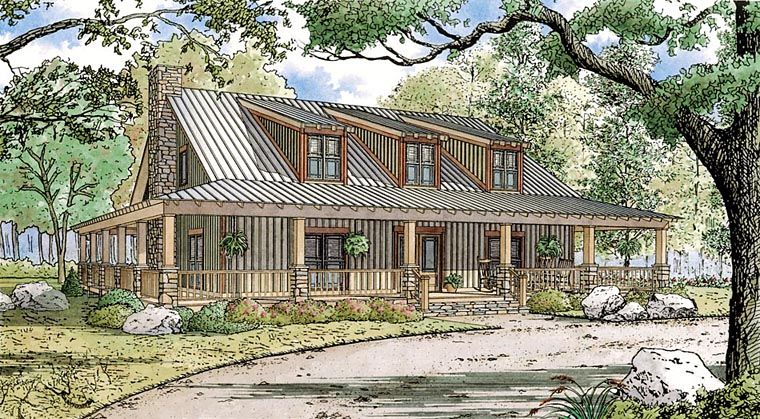 Bungalow Cabin Cottage Country Farmhouse Southern House Plan 82448