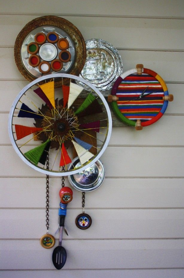 Decoration recycled material wall clock unique and for Home decor ideas from recycled materials