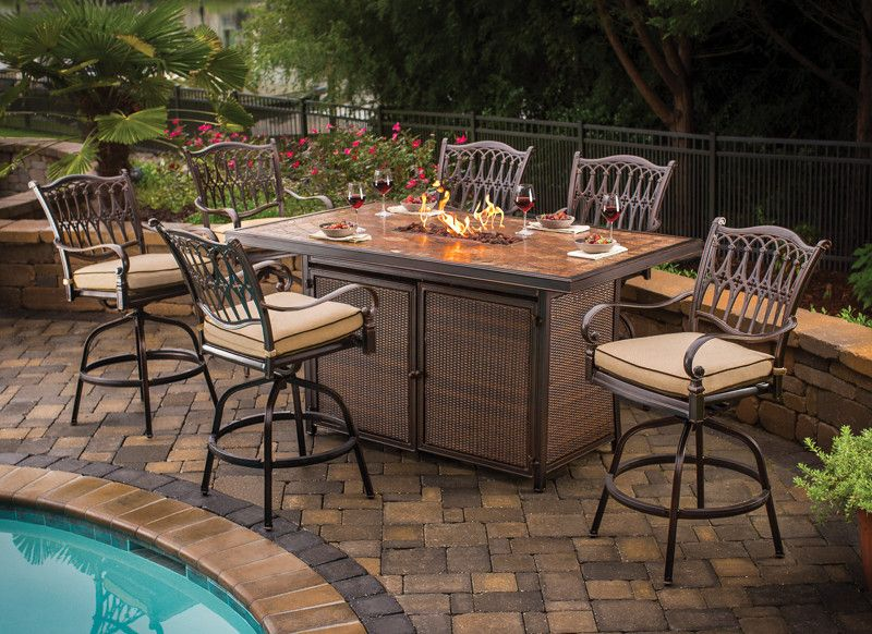 Balmoral Bar Height Table with Fire Pit : Fire Pits, Outdoor Heaters and Outdoor Fireplaces ...