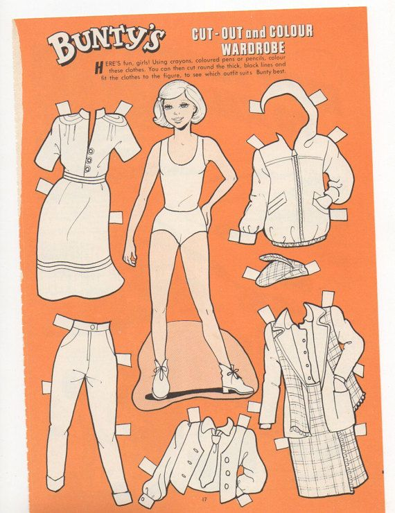 This is an original page from Bunty magazine. There is a Bunty paper doll on one side a comic strip on the back. Bunty was a British comics