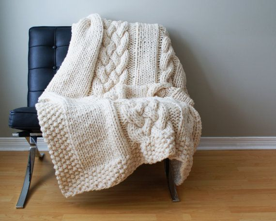 "Throw Blanket Super Chunky Double Cable Acrylic Throw Blanket / Rug Approximately 49"" x 64"" on Etsy, $336.39"