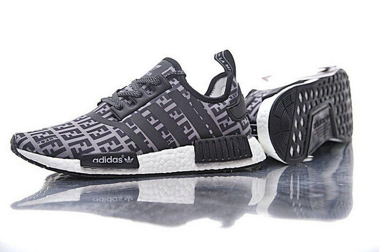 c589940d6162 2018 Popular Unisex FENDI x Adidas NMD R1 Boost Grey Black BA7747 Shoe