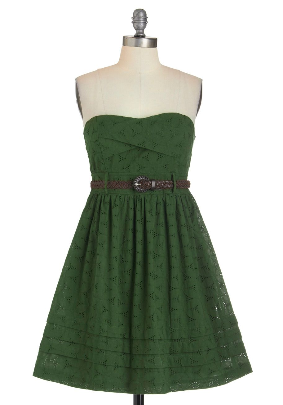 Fern by Heart Dress - Green, Casual, Empire, Summer, Belted, Strapless, Solid