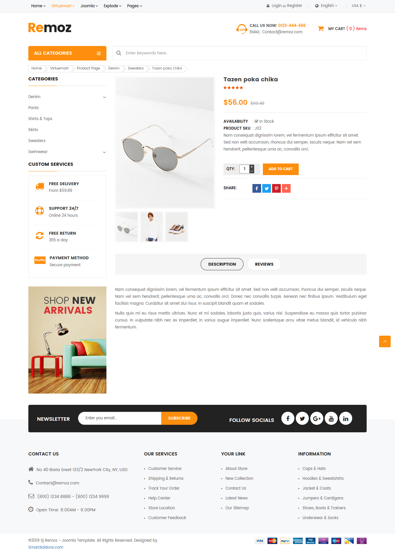 Free VirtueMart Joomla Template Sj Remoz in 2020