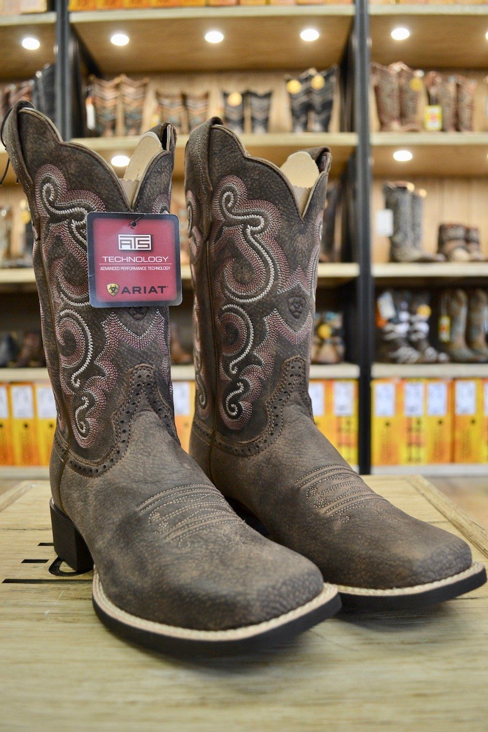 730ca450f3a Ariat Women's Distressed Brown Quickdraw Square Toe Western Boots ...