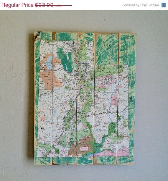 Map Art of Utah, Decoupaged Utah Map Onto Pallet Wood ...