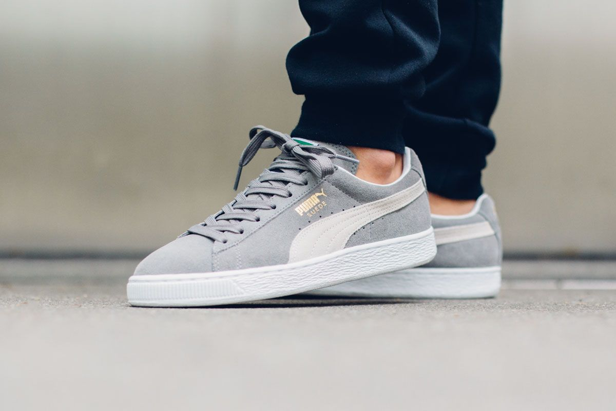 For summer, Puma has fitted the Suede in a grey and white colorway. The