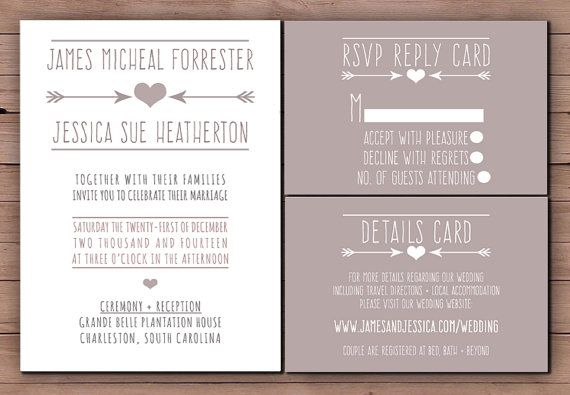 Printable Wedding Invitation Set Rsvp Card Details Diy