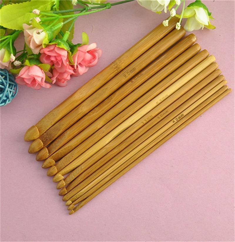 "12 Size 6/"" Bamboo Handle Crochet Hook Knit Weave Yarn Craft Knitting Needles Set"