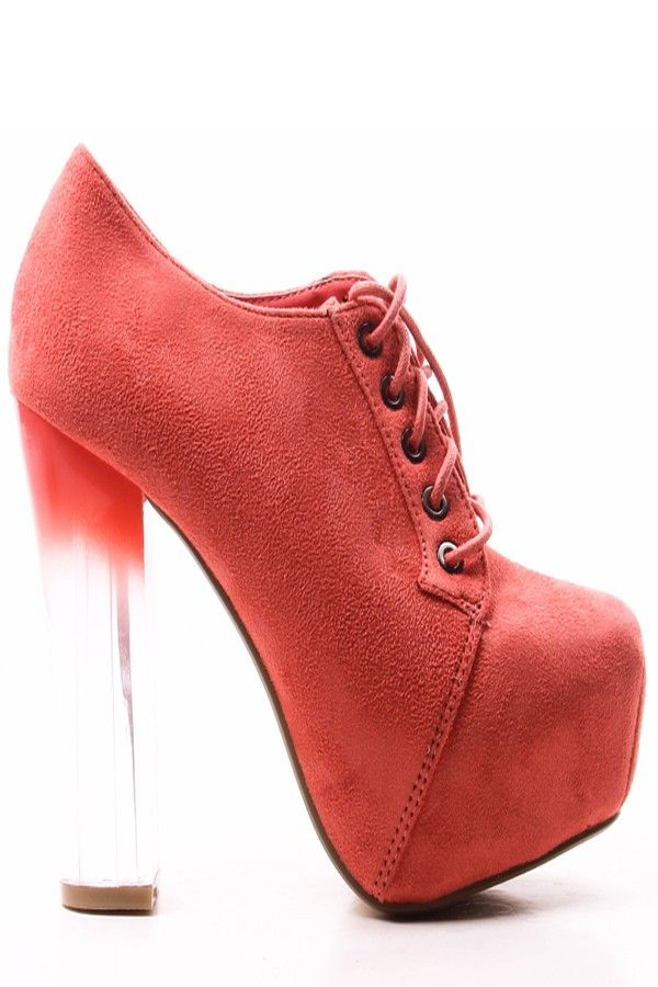 98eea171683d CORAL FAUX SUEDE LACE UP TRANSPARENT OMBRE HEEL BOOTIES