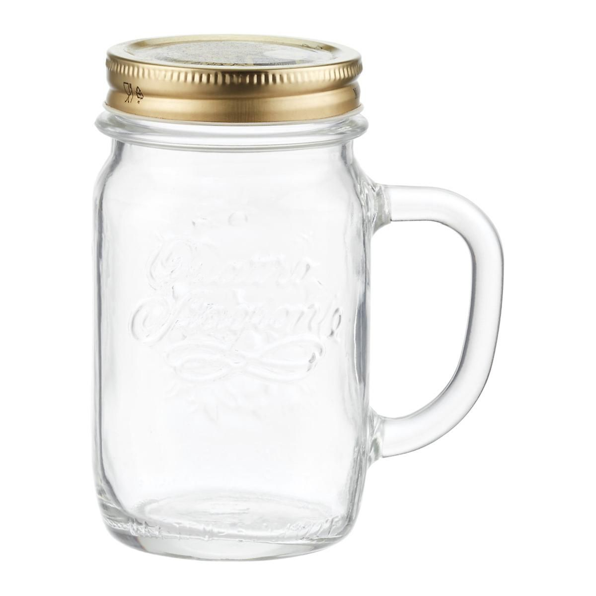 Quattro Stagioni 14 Oz Handled Mug Glass Jars With Lids Glass Jars Mugs