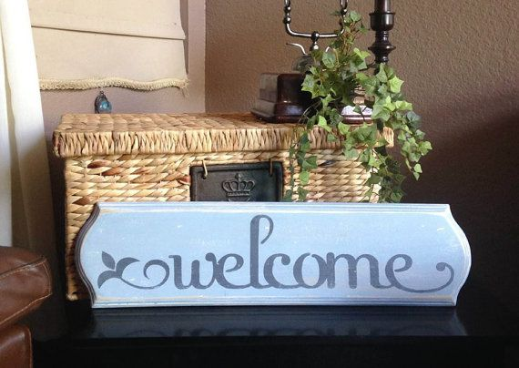 SALE Rustic Vintage-Inspired Welcome Sign by UpcycledBlessings