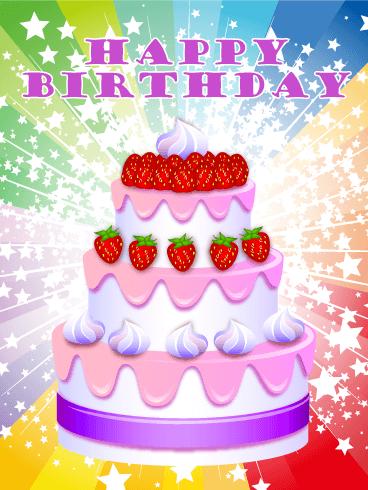 Rainbow Cheerful Happy Birthday Card