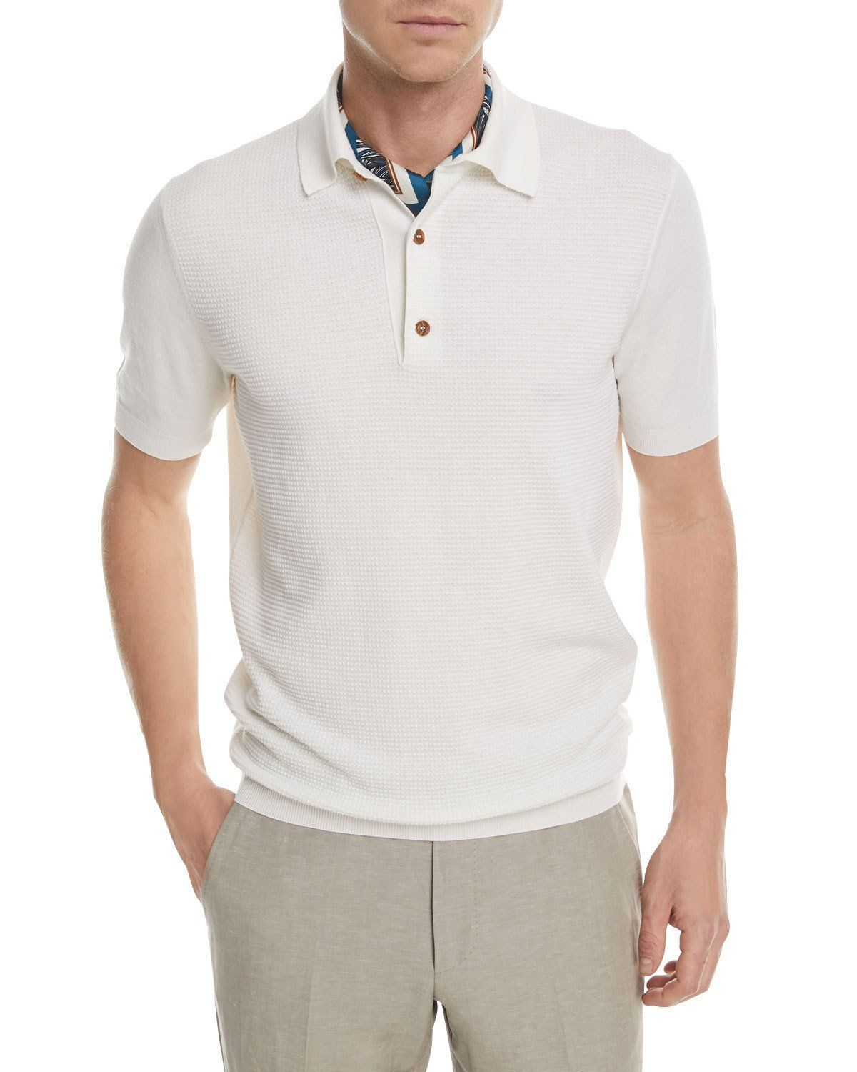 ff2a2fdc Z Zegna Textured-Knit Polo Shirt | Products | Polo shirt, Sports ...