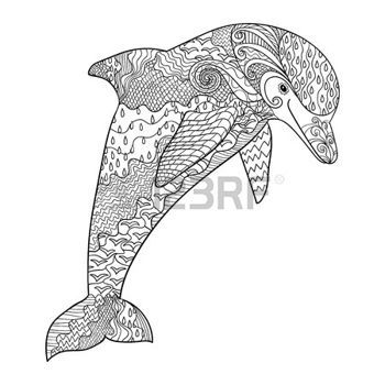 coloring pages print happy dolphin with high details adult antistress coloring page black