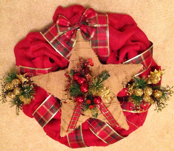 Rustic Country Red Green and Gold Christmas Holiday Seasons Burlap - christmas decors