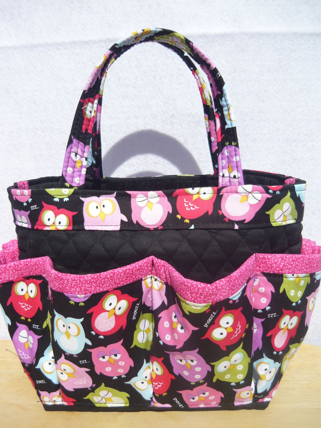 Owls Print Small Bingo Bag Great For Craft And Make Up Organizer