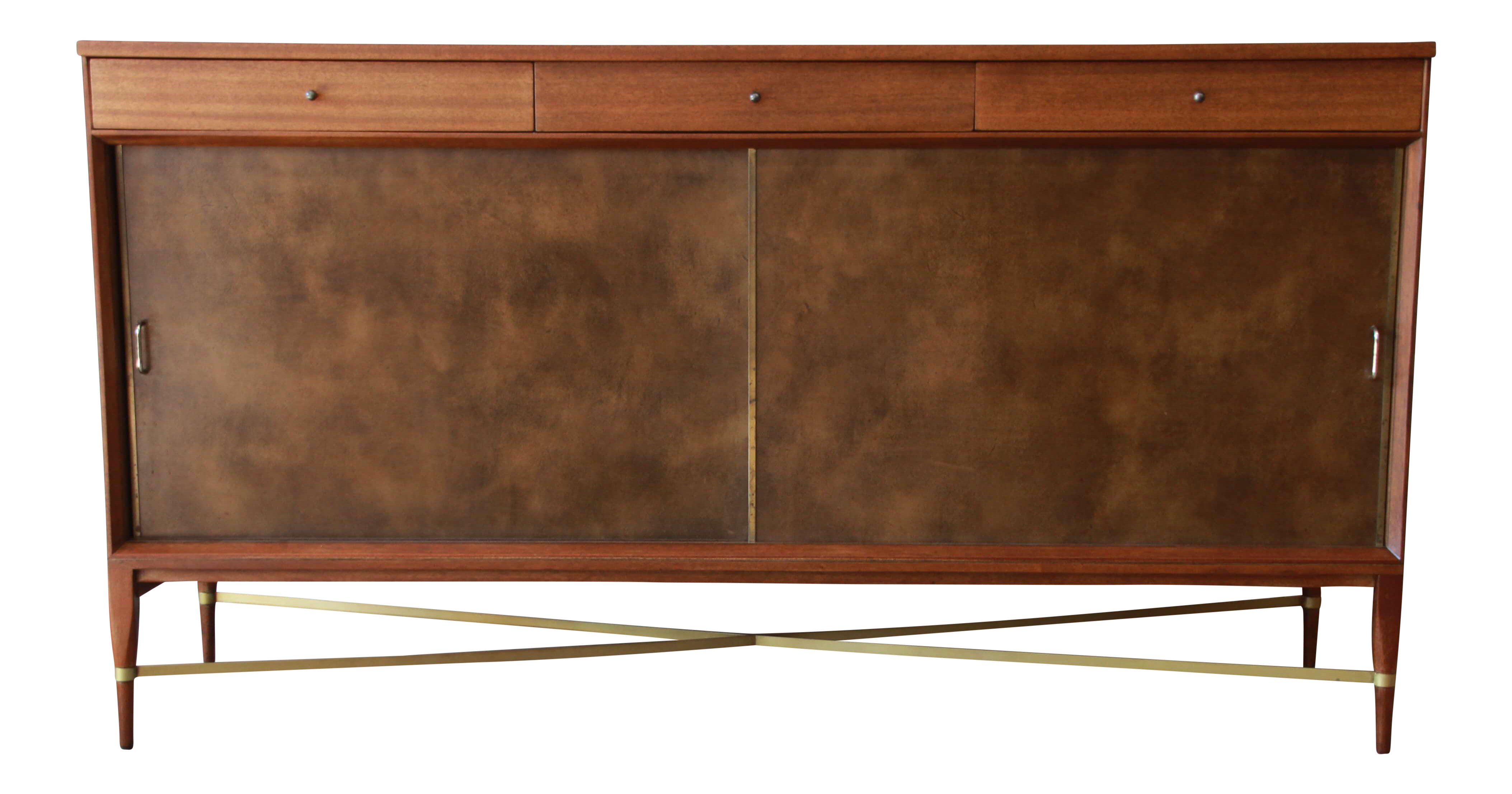 Paul Mccobb Credenza Or Sideboard For Calvin Furniture Connoisseur Collection The Piece Has Two Leather Front Sli Sliding Cabinet Doors Cabinet Doors Cabinet