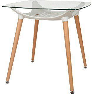 Ts Ideen Design Glastisch Beistelltisch 8 Mm Esg Glas Esstisch Holz Buche Mit Kunststoffablage In Weiss 80 X 80 Cm