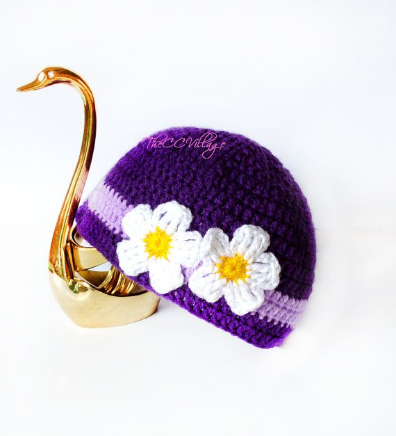 White Crochet Baby Hat flower Girl Hat crochet Cap por TheCCVillage