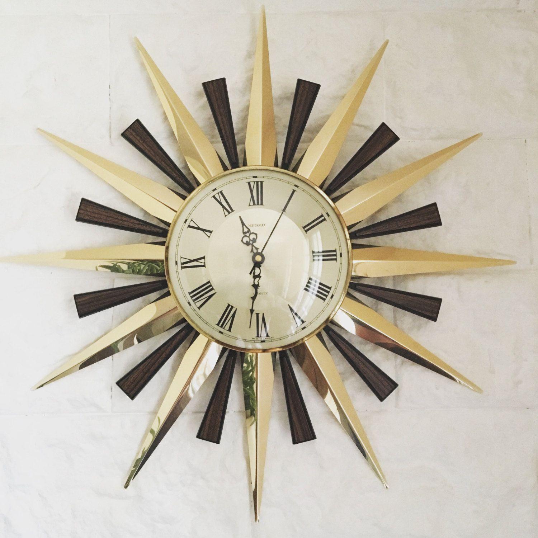 horloge mural vintage soleil horloge miroirs r veils vintage horloge murale vintage. Black Bedroom Furniture Sets. Home Design Ideas