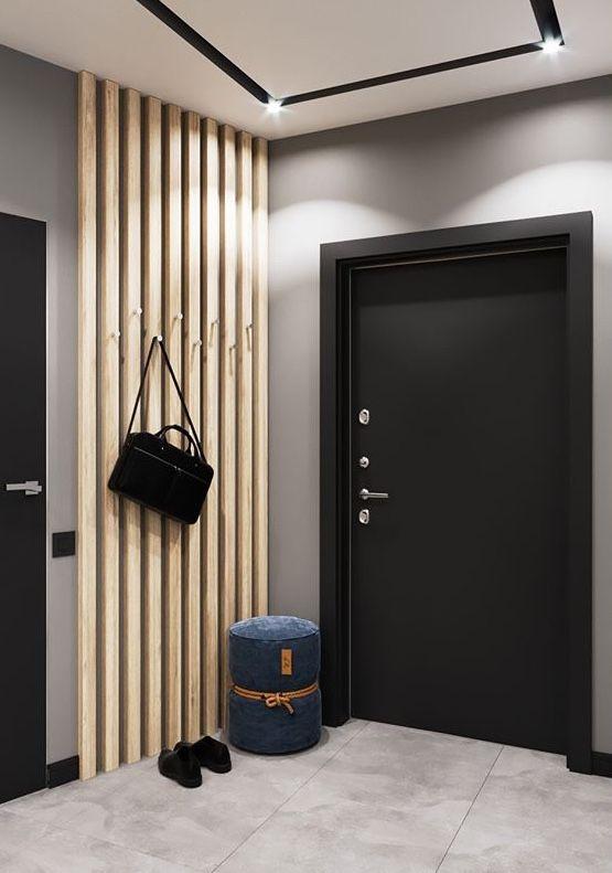 Slat Wall Entrance In 2020 Home Design Living Room House Interior Entrance Furniture