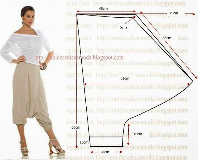 Plantillas de moda medir: Pantalón Saruel - 2   Ropa   Pinterest ...