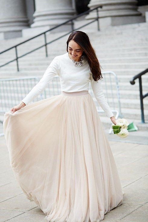 7c3657cbac The skirt-and-top set that's equal parts classy and casual: | 38  Beautifully Modern Wedding Dress Ideas