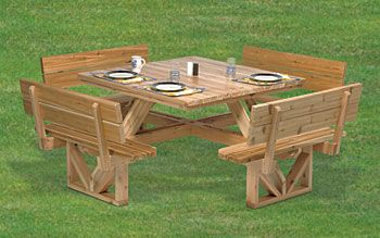 Plan Square Picnic Table 50 Octagon Bench Wooden