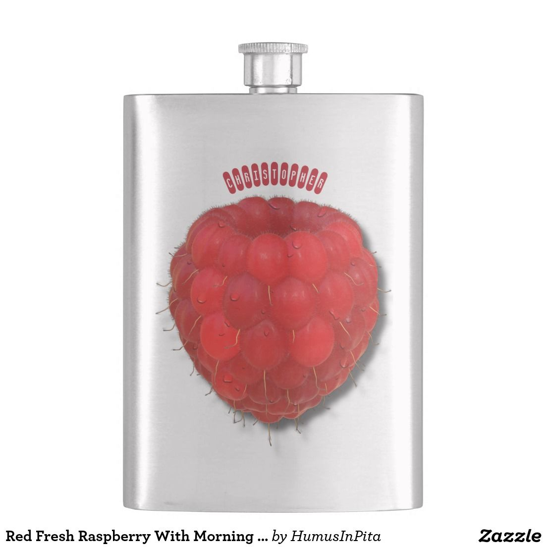 Red Fresh Raspberry With Morning Dew Drops Drawing Hip Flask