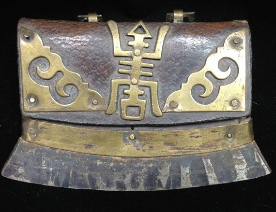 Tibetan Leather & Brass Flint Case by WorldofBacara on Etsy $265.00
