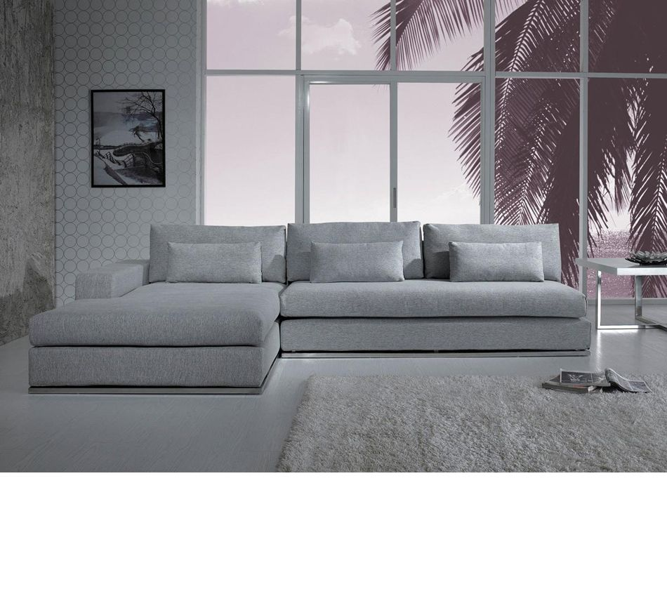 Divani Casa C08 Modern Fabric Sectional Sofa Grey Sectional Sofa Modern Sofa Sectional Modern Fabric Sectional Sofa